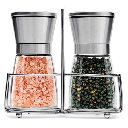 Salt and Pepper Grinder Set with Stand - Adjustable Coarseness & Ceramic Mechanism - Stainless Steel & Glass - Salt and Pepper Shakers Mill - Ideal for Kitchen