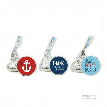 Thank You Navy Blue Nautical Baby Boy Baby Shower Hershey´s Kisses Favor Labels, 216-Pack - Baby Boy Shower Party Favor Ideas