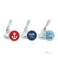 Thank You Navy Blue Nautical Baby Boy Baby Shower Hershey´s Kisses Favor Labels, 216-Pack