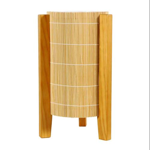 Natural Matchstick Weave Lamp with Wooden Legs and Honey Stain (Walnut)