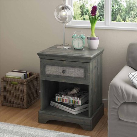 Altra Stone River Nightstand With Fabric Panel