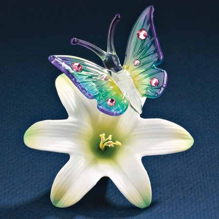 933b0aa4ba Butterfly On A Lilly Glass Figurine Floral Garden Nautical Glas Baron Gifts  For Women For Her - Walmart.com