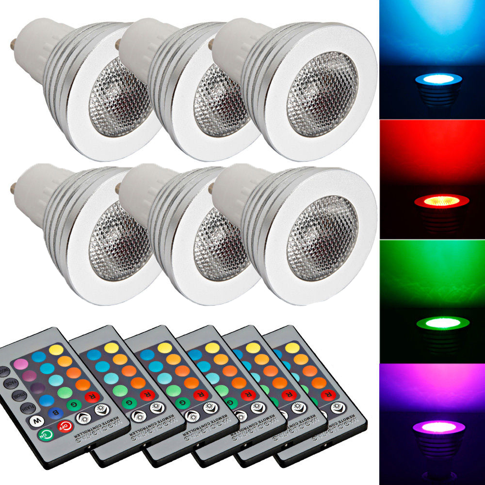 Ktaxon 6-Pack Durable GU10 5W Colorful RGB LED Bulb Light Lamp Spotlight with Remote Control,Great for Birthday Party / KTV Decoration / Home Use / Bar / Wedding