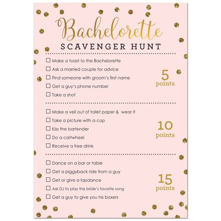 Bachelorette Scavenger Hunt Game -  Faux Gold Glitter on Pink - 24 Cards