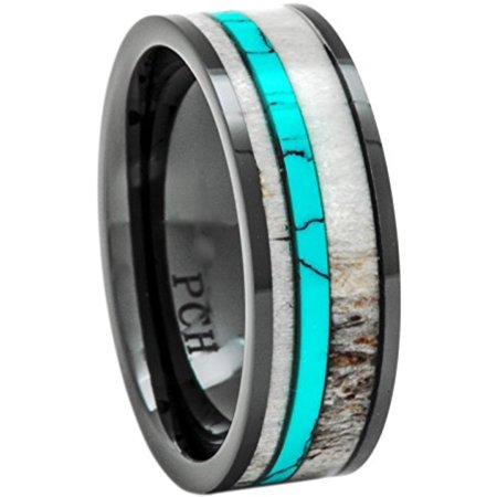 Deer Antler Ring Turquoise Black Ceramic 8mm Comfort Fit Wedding Band (7)