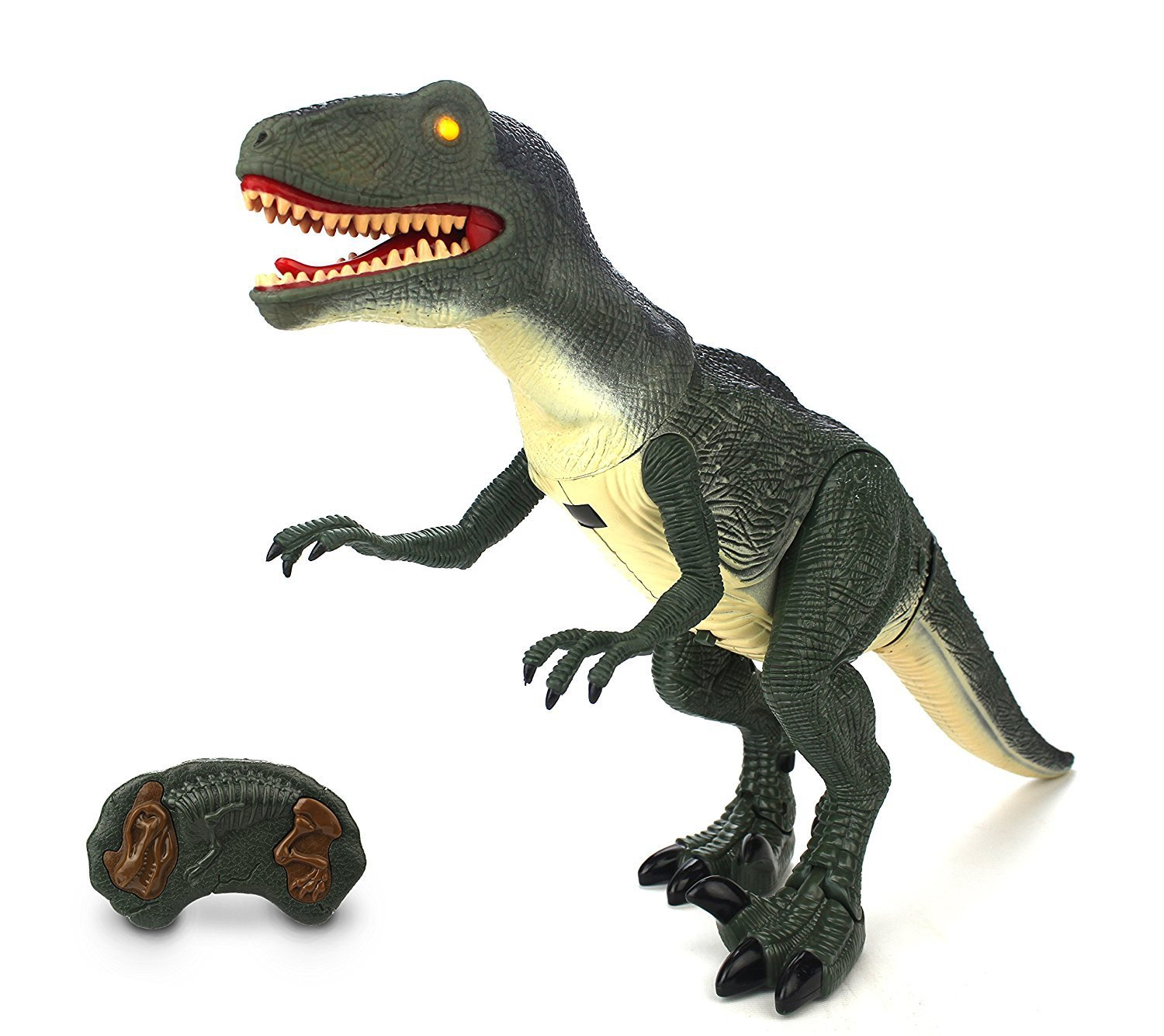 Dinosaur RC Battery Operated Toy Velociraptor Figure w Shaking Head, Remote Controlled RC,... by Velocity Toys