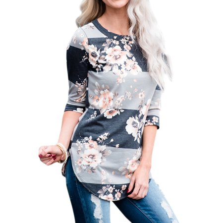 Valentine S Day Gift For Women  Womens Casual Floral Print T Shirts For Women  3   4 Sleeve Striped Color Block Blouse For Women  Round Hemline With Side Slit Pullover Tops For Juniors  S Xl