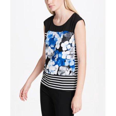 Calvin Klein Mixed-Print Sleeveless Top Celestial Multi M