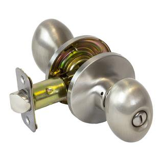 Plymouth Knob Set Privacy Lock - Pearson Collection Egg Styled Bed Bath Privacy Door Knob Lock, Satin Nickel
