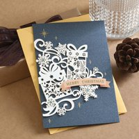 KABOER New Christmas Card 3D Stereo Retro Style Card Greeting Card Stationery and Envelope Set
