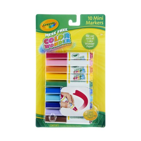 Crayola Mess Free Color Wonder Mini Markers, 10 Count
