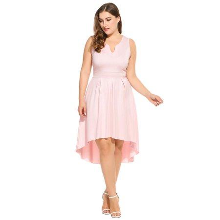women notch neck sleeveless high low hem midi dress plus size