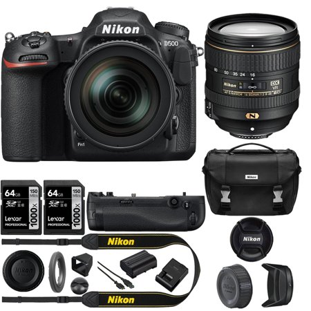 - Nikon D500 20.9 MP CMOS DX Format DSLR Camera + 16-80mm VR Lens Kit w/Power Bundle Includes, Nikon Multi Battery Power Pack + 2x Lexar 64GB SDHC/SDXC Class 10 Memory Card Up + Deluxe DSLR Camera Case