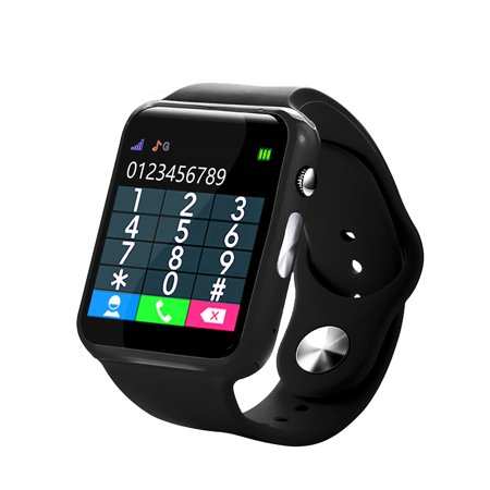 Kids Smart Watch Children Tracker Smartwatch with Camera Anti Lost for IOS Android BT Cell Phone Touch Screen Pedometer Sleep Monitor Calendar Black ()