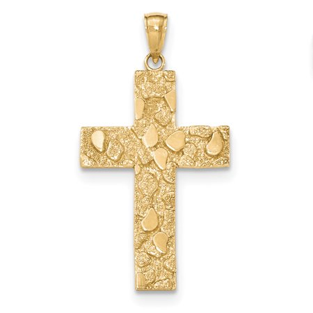 - 14k Yellow Gold Polished and Textured Nugget Block Style Cross Pendant