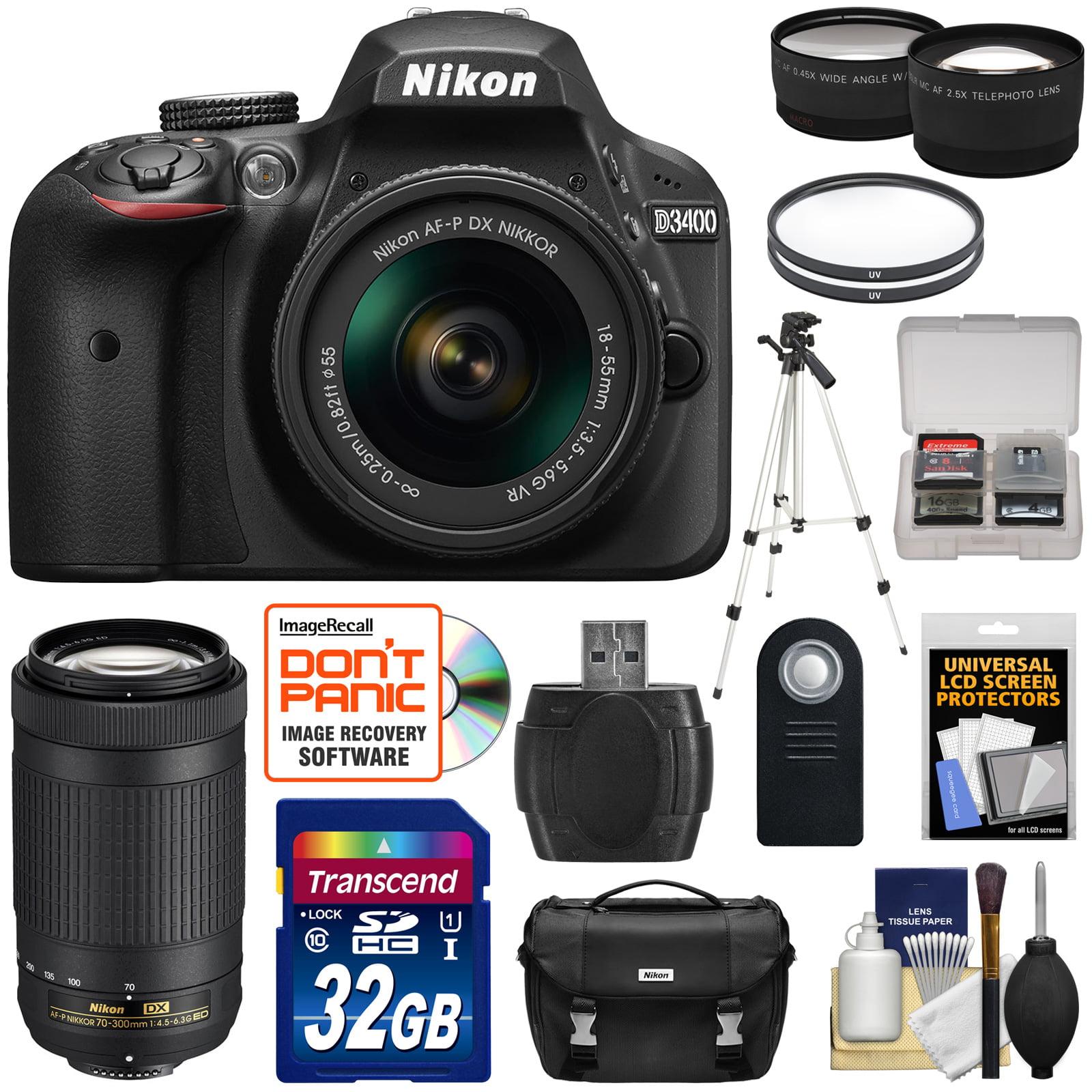 nikon d3400 digital slr camera & 18 55mm vr & 70 300mm dx