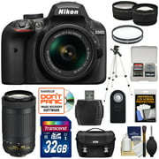 Nikon D3400 Digital SLR Camera & 18-55mm VR & 70-300mm DX AF-P Lenses - Refurbished with 32GB Card + Case + Tripod + Filters + Remote + Tele/Wide Lens Kit