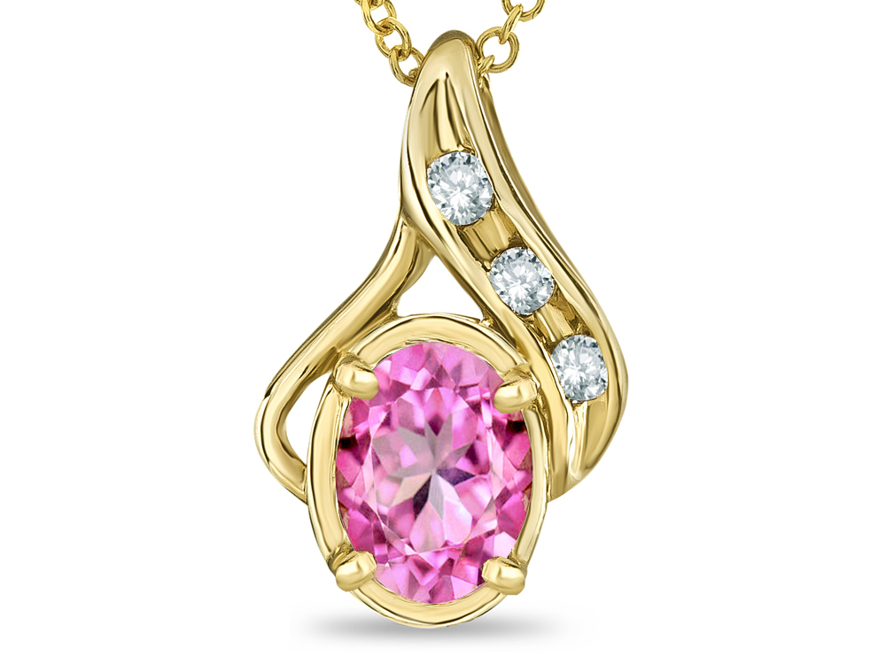 Star K Oval 7x5mm Simulated Pink Tourmaline Pendant Necklace in 14 kt Yellow Gold by