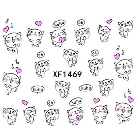 Cute Kitten Manicure Stickers Cartoon Nail Art Decoration Salon DIY Decal XF1469, Nail Art Manicure,Nail Art Stickers - Cute Halloween Manicure