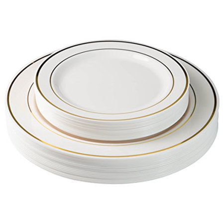 Exquisite 60 Pcs Plastic Disposable Dinnerware Set Combo - Wedding & Party Disposable Dinner Plates - Set of 30 Cream Colored Ivory & Gold Plastic Dinner Plates and 30 Plastic Appetizer/Dessert Plates for $<!---->