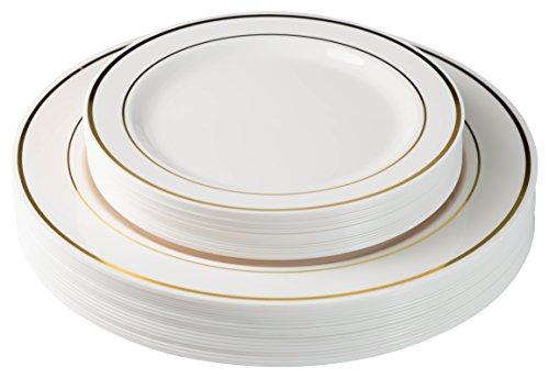 Exquisite 60 Pcs Plastic Disposable Dinnerware Set Combo - Wedding \u0026 Party Disposable Dinner Plates -  sc 1 st  Walmart.com & Disposable Plastic Plates