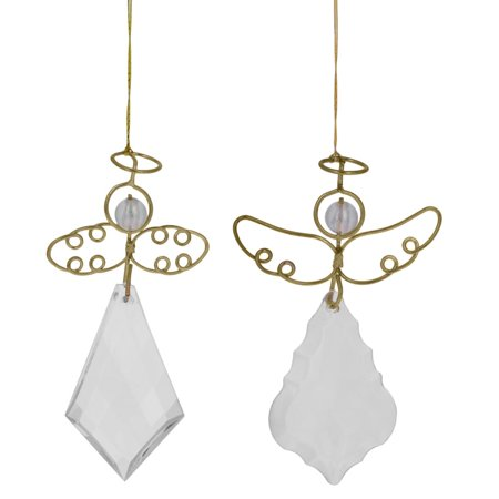"3"" Set of 2 Assorted Clear Angels with Golden Wings Christmas Ornament"