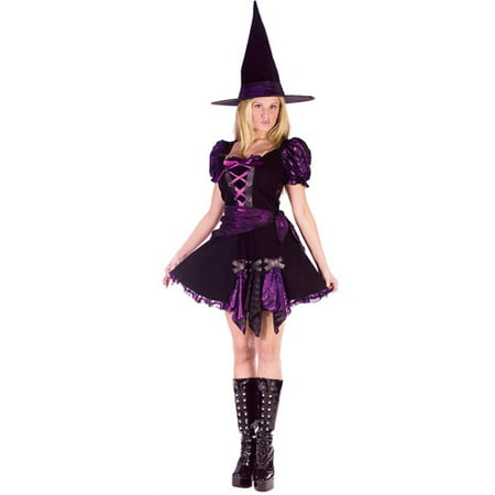 Purple Punk Witch Adult Halloween Costume - Black And Purple Halloween Makeup