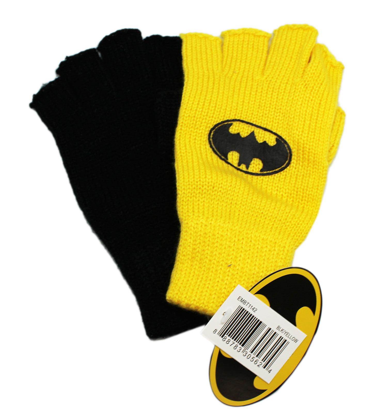 DC Comics Batman Yellow and Black Fingerless Gloves