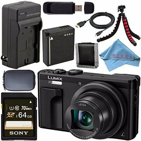 Panasonic Lumix DMC-ZS60 Digital Camera (Black) DMC-ZS60-K + DMW-BLG10 Lithium Ion Battery + External Rapid Charger + Sony 64GB SDXC Card + Small Case + Flexible Tripod
