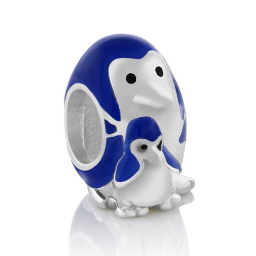 European Style Stainless Steel Mommy Penguin Bracelet Bead Charm