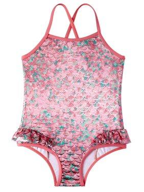 Pink Platinum Mermaid Scales 1pc Swimsuit (Baby Girls & Toddler Girls)