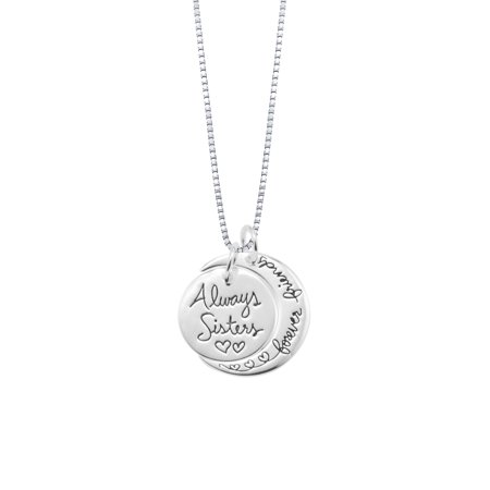Sterling Silver Two-Piece Charm Always Sisters Forever Friends Pendant - Charm Necklaces