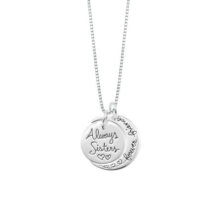 - Sterling Silver Two-Piece Charm Always Sisters Forever Friends Pendant Necklace
