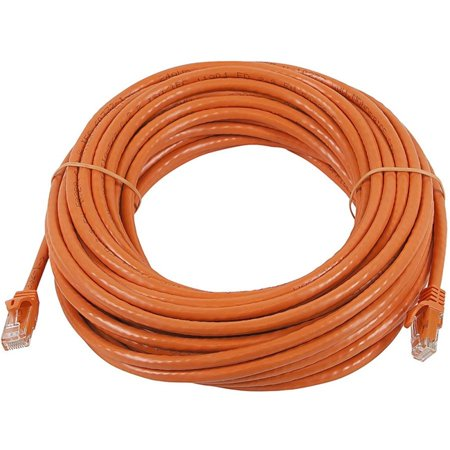 Monoprice FLEXboot Series Cat6 24AWG UTP Ethernet Network Cable 100ft Orange Save the time and hassle of building Ethernet cables by using fixed-length UTP Cat6 Ethernet Network Cables from Monoprice!   The FLEXboot Series of cables feature a thinner cable boot protecting the plug retaining clip which makes it much easier to depress the clip and protective cover.    Features:     Unshielded Twisted Pair (UTP) Category 6 Ethernet cable   24AWG stranded pure bare copper conductors   550MHz bandwidth   Snagless cable boot protects the plug retaining clip   Thinner cable boot makes it easier to depress the clip and protective cover   50m gold plated contacts   100-foot length (tip to tip)    Monoprice Ethernet cables are made of 100% pure bare copper wire as opposed to copper clad aluminum (CCA) wire and are therefore fully compliant with UL Code 444 and National Electrical Code TIA-568-C.2 fire and safety standards which require pure bare copper wire in communications cables. Allows you to access all of the networked data swiftly and securelyFeatures Category 6 cable typeFeatures StrandedFeatures 1 x RJ-45 Male Network connector permitting you to establish a connection with a network device