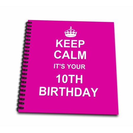 3dRose Keep Calm its your 10th Birthday - hot pink girly girls fun stay calm about turning double digits - Mini Notepad, 4 by 4-inch Double Rainbow Note Paper