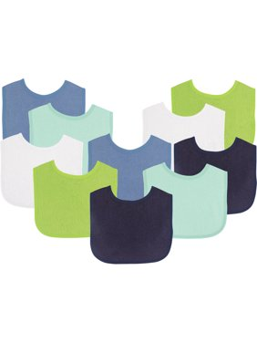 Luvable Friends Baby Boy and Girl Drooler Bibs, 10-Pack - White