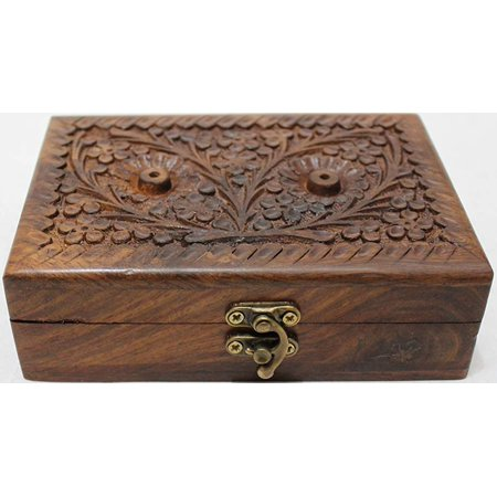 Valentine Day Gift Hers Girls Multipurpose Precious Stone Jewelry Box Solid Wood with Hand Carving Floral Designs and Medieval Era Lock -