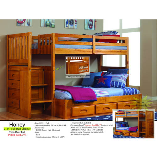 american furniture classics mission staircase twin over twin wood bunk bed with storage honey
