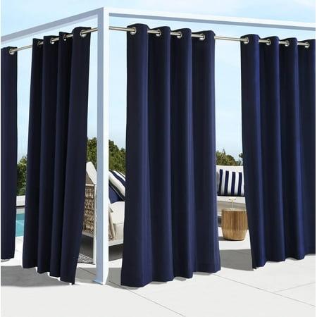 """96""""x50"""" Coastal Solid Grommet Top Indoor/Outdoor Blackout Curtain Panel Navy - Outdoor Décor"""