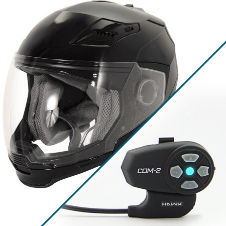 Hawk Evolution 2 In 1 Black Modular Helmet With Hawk Com 2 Bluetooth Intercom B