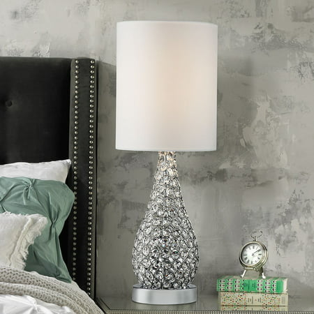 360 Lighting Modern Accent Table Lamp Crystal Bead Silver Gourd White Drum Shade For Living Room