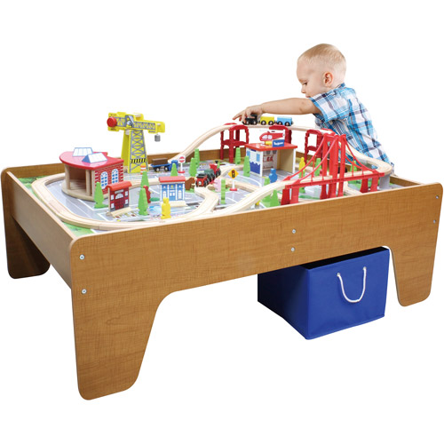 100-Piece Cityscape Train Set and Wooden Activity Table