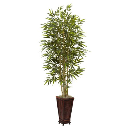 Nearly Natural Bamboo - Nearly Natural 6' Bamboo Tree with Decorative Planter