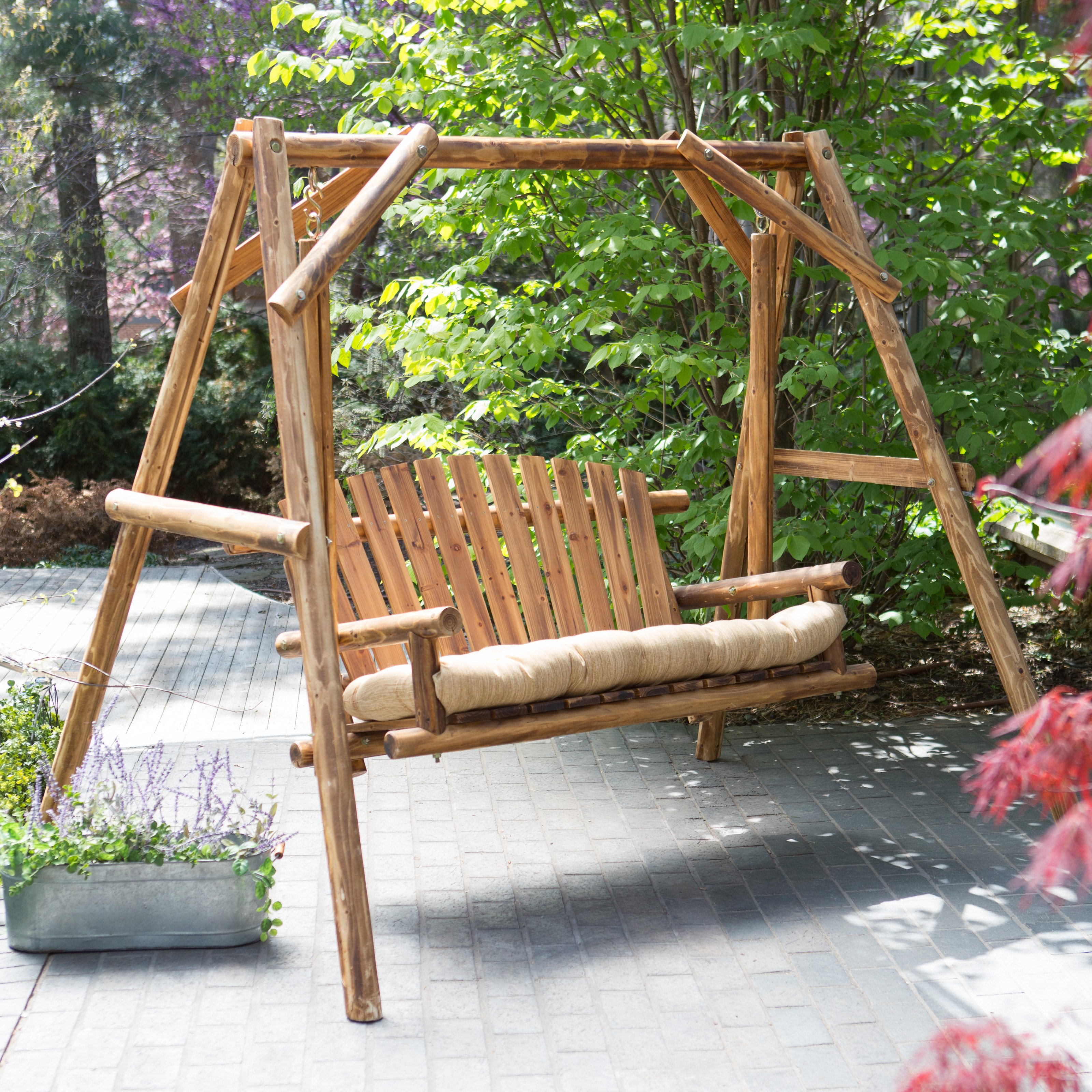 Coral Coast Rustic Oak Log Curved Back Porch Swing and A-Frame Set by Showtime Sales & Marketing Inc