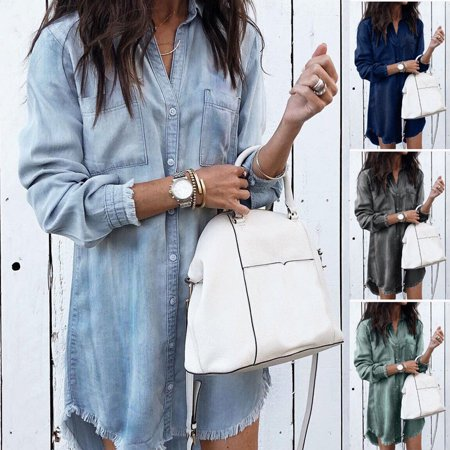 US Womens Denim Long Sleeve Tassel Blouse Tops Mini Dress Ladies Casual (Denim Long Sleeve Sport Shirt)