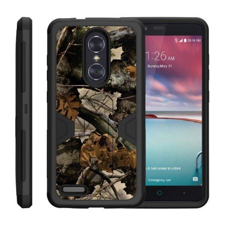 TurtleArmor ® | For ZTE ZMax Pro | ZTE Carry | ZTE Blade X Max [Shockproof Case] Protective Armor Hard Impact Case Kickstand Holster Belt Clip - Tree Leaves