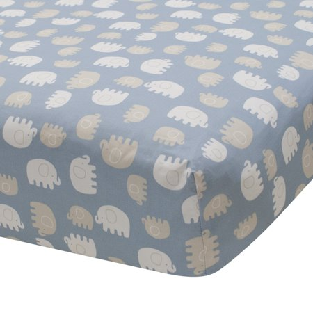 Lambs & Ivy Signature Elephant Tales Cotton Fitted Crib Sheet - Blue, -
