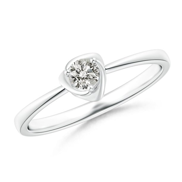 April Birthstone Ring - Solitaire Diamond Floral Ring in Platinum (3.4mm Diamond) - SR1299D-PT-KI3-3.4-8
