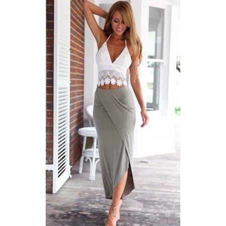 Style One Piece Dress - Fashion Women Summer Boho Long Beach Dress Maxi Sundress two-piece
