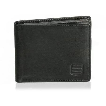 suvelle men's slim leather bifold wallet, removable flip up id window wallets, (Leather Slim Flap)